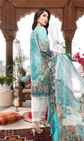 DIGITAL PRINTED EMBROIDERED FRONT DIGITAL PRINTED BACK AND SEELVES ORGANZA EMBROIDERED NECKLINE CROCHET LACE FOR FRONT CROCHET LACE FOR SLEEVES ORGANZA EMBROIDERED TROUSER BORDER DIGITAL PRINTED CHIFFON DUPATTA WHITE TROUSER