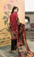 DIGITAL PRINTED EMBROIDERED FRONT DIGITAL PRINTED BACK AND SEELVES ORGANZA EMBROIDERED NECKLINE ORGANZA EMBROIDERED FRONT BORDER ORGANZA EMBROIDERED SEELVES BORDER ORGANZA EMBROIDERED TROUSER MOTIF DIGITAL PRINTED CHIFFON DUPATTA DYED TROUSER