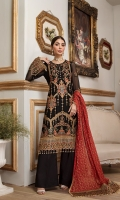Chiffon Embroidered Front 0.8 Yards Chiffon Embroidered Back 0.8 Yards Chiffon Embroidered Sleeves 0.6 Yards Organza Embroidered Front Border 0.8 Yards Organza Embroidered Back Border 0.8 Yards Organza Embroidered Sleeves Border 1 Yards Screen Printed Medium Silk Dupatta 2.3 Yards Organza Embroidered Dupatta Pallu 1.2 x 2 Yards Dyed Raw Silk Trouser 2.5 Yards