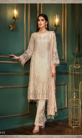 CHIFFON EMBROIDERED FRONT PANNEL CHIFFON EMBROIDERED SIDE PANNEL EMBROIDERED NECKLINE EMBROIDERED MOTIFS FOR FRONT CHIFFON EMBROIDERED SLEEVES EMBROIDERED BORDERS FOR FRONT EMBROIDERED BORDER FOR BACK EMBROIDERED MOTIFS FOR SLEEVES DYED NET DUPATTA EMBROIDERED PATTI FOR DUPATTA EMBROIDERED PALLU EMBROIDERED MOTIFS FOR TROUSER DYED RAW SILK TROUSER