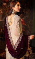 Chiffon Embroidered Front Chiffon Embroidered Back Chiffon Embroidered Sleeves Organza Embroidered Front Border Organza Embroidered Back Border Organza Embroidered Sleeves Border Organza Embroidered Sleeve Motifs Velvet Embroidered Shawl Velvet Embroidered Shawl Pallu Velvet Embroidered Trouser Patti Dyed Raw Silk Trouser