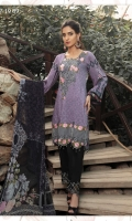PERFECT PIECE FOR EVERY OCCASION OF WINTERS LAVENDER ALL OVER PRINTED ENSEMBLE WITH FLORAL EMBROIDERED NECKLINE AND BORDER PAIRED WITH DYED TROUSERS EMBELLISHED WITH EMBROIDERED MOTIF AND PRINTED CHIFFON DUPATTA.