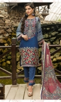A BURST OF FLORAL BLUSH PRESENTED IN THIS BLUE ENSEMBLE HEAVILY EMBROIDERED BORDER AND NECKLINE PRINTED SLEEVES, DYED TROUSER AND ALL OVER PRINTED CHIFFON DUPATTA.