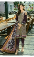 Shirt: Printed Cambric  Dupatta: Printed Lawn  Trouser: Cambric