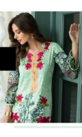 3 Piece Embroidered Lawn Suit Shirt : Printed Lawn Dupatta : Embroidered Net Trouser : Dyed EMBROIDERY: Embroidered Gala Embroidered Net Dupatta