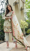 3 Piece Embroidered Lawn Suit Shirt : Printed Lawn Dupatta : Printed Chiffon Trouser : Printed EMBROIDERY: EMBROIDERY: Embroidered Daman on Shirt Embroidered Borders for Sleeves