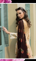 3 Piece Embroidered Lawn Suit Shirt : Printed Lawn Dupatta : Embroidered and printed Chiffon Trouser : Dyed EMBROIDERY: Embroidered Daman on Shirt Embroidered Border for Sleeves Embroidered Pallu for Dupatta