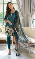 3 Piece Embroidered Lawn Suit Shirt : Printed Lawn Dupatta : Digital Printed Silk Trouser : Dyed EMBROIDERY: Embroidered Center Panel front Embroidered Border for Sleeves/ Trouser
