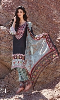 Embroidered lawn 3 pcs suit with chiffon dupatta