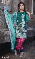 3 pcs unstitched embroidered Cotton with printed Broshia and Chiffon dupatta