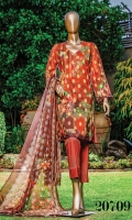• Digital Print Jacquard Lawn Shirt. • Digital Printed Bamberg Shaffon Embroidered Dupatta. • Masuri Dyed Trouser.
