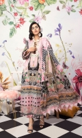 Digital Printed Embroidered NeckLuxury Lawn Digital Printed Silk Dupatta Cambric Cotton Trouser Lass Fort Patch