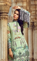 Digital Printed Swiss Shirt With Embroidered Embroidered Chiffon Dupatta Cotton Dyed Trouser