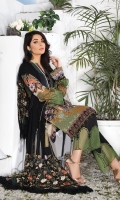 Digital Printed Swiss Shirt With Embroidered Embroidered Bamber Chiffon Dupatta Cotton Dyed Trouser