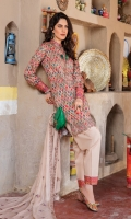 Digital Printed Luxury Lawn Shirt With Embroidered Neck Embroidered Bamber Chiffon Dupatta Cotton Dyed Trouser Embroidered Lass Fort+Patches