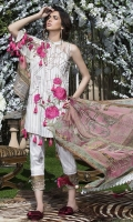 Three Piece, Shirt Fabric: Digital printed Embroidered Lawn, Includes: Front, Back, Sleeves, Digital Printed Crinkle Chiffon Dupatta, Dyed Cotton Trouser.