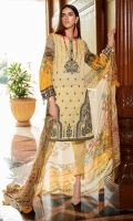 Digital Printed Embroidered Lawn Front 1.14 M Digital Printed Lawn Back 1.14 M Embroidered Patch For Front Daman 1 M Digital Printed Lawn Sleeves 0.67 M Sleeves Embroidered Patch 1 M Digital Printed Crinkle Chiffon Dupatta 2.5 M Dyed Cotton Trouser 2.5 M