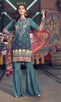 Digital Printed Embroidered Linen Front 1.14 M Digital Printed Linen Back 1.14 M Embroidered Front Daman Patch 1 M Digital Printed Linen Sleeves 0.67 M Digital Printed Crinkle Chiffon Dupatta 2.5 M Dyed Linen Trouser 2.5 M