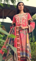 Digital Printed Embroidered Linen Front 1.14 M Digital Printed Linen Back 1.14 M Digital Printed Linen Sleeves 0.67 M Sleeves Embroidered Patch 1 M Digital Printed Crinkle Chiffon Dupatta 2.5 M Dyed Linen Trouser 2.5 M
