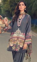 Digital Printed Embroidered Linen Front 1.14 M Digital Printed Linen Back 1.14 M Neckline Embroidered Patch 1 Pc Digital Printed Linen Sleeves 0.67 M Digital Printed Crinkle Chiffon Dupatta 2.5 M Dyed Linen Trouser 2.5 M