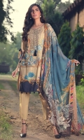 Digital Printed Embroidered Linen Front 1.14 M Digital Printed Linen Back 1.14 M Embroidered Back Daman Patch 1 M Digital Printed Linen Sleeves 0.67 M Digital Printed Crinkle Chiffon Dupatta 2.5 M Dyed Linen Trouser 2.5 M