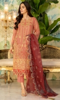 Embroidered Hand Embalished Crinkle Chiffon Front 1 M Embroidered Crinkle Chiffon Back 1 M Embroidered Patch Hand Embalished For Front 1 M Embroidered Patch For Front & Back 2 M Embroidered Crinkle Chiffon Sleeves 0.67 M Embroidered Organza Dupatta 2.5 M Dyed Silk Trouser 2.5 M