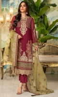 Embroidered Crinkle Chiffon Front 1 M Dyed Crinkle Chiffon Back 1 M Embroidered Neckline Patch 1 Pc Embroidered Patch A For Front 1 M Embroidered Patch B For Front 1 M Embroidered Crinkle Chiffon Sleeves 0.67 M Sleevs Embroidered Patch 1 M Embroidered Organza Dupatta 2.5 M Dyed Silk Trouser 2.5 M