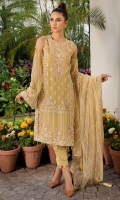 Embroidered Crinkle Chiffon Front 1 M Dyed Crinkle Chiffon Back 1 M Embroidered Patch For Front & Back 2 M Embroidered Daman Patch Left & Right Front & Back 2 M Embroidered Crinkle Chiffon Sleeves 0.67 Embroidered Sleevs Patch 1 M Embroidered Net Dupatta 2.5 M Dyed Silk Trouser 2.5 M