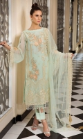 Embroidered Crinkle Chiffon Front 1 M Dyed Crinkle Chiffon Back 1 M Embroidered Patch For Front & Back 2 M Embroidered Crinkle Chiffon Sleeves 0.67 M Embroidered Net Dupatta 2.5 M Dyed Silk Trouser 2.5 M