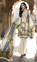 Three Piece, Shirt Fabric: Digital Printed Karandi, Includes: Front, Back, Sleeves, Digital Printed Tissue Silk Dupatta, Dyed Karandi Trouser, With Embroidered Patches.
