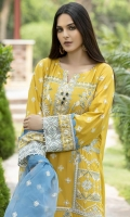 Embroidered Mirror Hand Embelished Lawn Front 1 M Dyed Lawn Back 1 M Embroidered Patch A For Front & Back Daman 2 M Embroidered Patch B For Front & Back Daman 2 M Embroidered Patch For Front Daman 1 M Embroidered Lawn Sleeves 0.67 M Sleeves Embroidered Patch A 1 M Sleeves Embroidered Patch B 1 M Embroidered Organza Dupatta 2.5 M Dyed Cotton Trouser 2.5 M