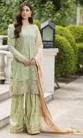 Schiffli Embroidered Lawn Front 1 M Dyed Lawn Back 1 M Schiffli Embroidered Patch A For Front & Back Daman 2 M Embroidered Patch B For Front & Back Daman 2 M Embroidered Lawn Sleeves 0.67 M Sleeves Embroidered Patch 1.25 M Embroidered Crinkle Chiffon Dupatta 2.5 M Printed Cotton Trouser 2.5 M