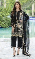 Embroidered Lawn Front 1 M Dyed Lawn Back 1 M Neckline Embroidered Patch 1 M Embroidered Kawia Patch For Front & Back Daman 2 M Embroidered Lawn Sleeves 0.67 M Sleeves Embroidered Patch 1 M Embroidered Crinkle Chiffon Dupatta 2.5 M Dyed Cotton Trouser 2.5 M