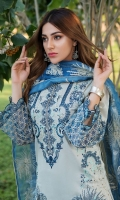 Schiffli Embroidered Lawn Front 1 M Dyed Lawn Back 1 M Embroidered Patch For Daman Front & Back 2 M Dyed Lawn Sleeves 0.67 M Sleeves Embroidered Patch 1 M Embroidered Organza Dupatta 2.5 M Dyed Cotton Trouser 2.5 M