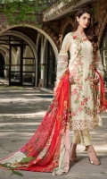 Embroidered Lawn Front 1 M Dyed Lawn Back 1 M Embroidered Patch For Daman Front & Back 2 M Dyed Lawn Sleeves 0.67 M Sleeves Embroidered Patch 1 M Digital Printed Tissue silk Dupatta 2.5 M Dyed Cotton Trouser 2.5 M Trouser Embroidered Patch 2 M