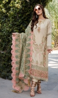 Embroidered Lawn Center Panel & Side Panel Front 1 M Dyed Lawn Back 1 M Embroidered Patch A For Daman Front 1 M Embroidered Patch B For Daman Front 1 M Embroidered Patch C For Daman Front 1 M Embroidered Patch For Daman Back 1 M Embroidered Lawn sleeves 0.67 M Sleeves Embroidered Patch A 1 M Sleeves Embroidered Patch B 1 M Embroidered Organza Dupatta 2.5 M Dyed Cotton Trouser 2.5 M