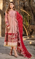 Embroidered Lawn Front 1 M Dyed Lawn Back 1 M Neckline Embroidered Patch 1 Pc Embroidered Patch A For Daman Front & Back 2 M Embroidered Patch B For Daman Front & Back 2 M Embroidered Lawn Sleeves 0.67 M Sleeves Embroidered Patch 1 M Embroidered Crinkle Chiffon Dupatta 2.5 M Dyed Cotton Trouser 2.5 M