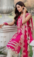 Embroidered Lawn Front 1 M Dyed Lawn Back 1 M Embroidered Patch A For Daman Front 1 M Embroidered Patch B For Daman Front 1 M Dyed Lawn Sleeves 0.67 M Sleeves Embroidered Patch 1 M Embroidered Crinkle Chiffon Dupatta 2.5 M Embroidered Cotton Trouser 2.5 M