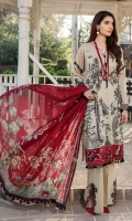 Embroidered Lawn Front 1 M Dyed Lawn Back 1 M Embroidered Patch A For Daman Front 1 M Embroidered Patch B For Daman Front 1 M Embroidered Lawn Sleeves 0.67 M Sleeves Embroidered Patch 1 M Digital Printed Tissue silk Dupatta 2.5 M Dyed Cotton Trouser 2.5 M Trouser Embroidered Patch 1 M