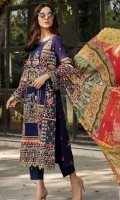 Embroidered Lawn Front 1 M Embroidered Lawn Back 1 M Embroidered Patch For Daman Front 1 M Embroidered Lawn Sleeves 0.67 M Sleeves Embroidered Patch 1 M Digital Printed Crinkle Chiffon Dupatta 2.5 M Dyed Cotton Trouser 2.5 M