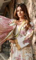 Embroidered Lawn Front 1 M Embroidered Lawn Back 1 M Embroidered Patch For Daman Front & Back 2 M Dyed Lawn Sleeves 0.67 M Sleeves Embroidered Patch A 1 M Sleeves Embroidered Patch B 2 Pc Digital Printed Crinkle Chiffon Dupatta 2.5 M Dyed Cotton Trouser 2.5 M