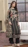 Embroidered Pure Crinkle Chiffon Front 1 M Embroidered Pure Crinkle Chiffon Back 1 M Embroidered Patch For Daman Front & Back 2 M Embroidered Pure Crinkle Chiffon Sleeves 0.67 M Sleeves Embroidered Patch 1 M Embroidered Net Dupatta 2.5 M Embroidered Dyed Silk Trouser 2.5 M Dyed Shirt Lining 1.5 M