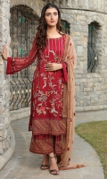 Embroidered Crinkle Chiffon Front 1 M Crinkle Chiffon Back 1 M Embroidered Patch For Front & Back 2 M Embroidered Crinkle Chiffon Sleeves 0.67 M Embroidered Crinkle Chiffon Dupatta 2.5 M Dupatta Embroidered Patch 4 Side 7.5 M Dyed Silk Trouser 2.5 M Trouser Embroidered Patch 1 M