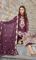 Embroidered Crinkle Chiffon Front 1 M Crinkle Chiffon Back 1 M Embroidered Neckline Patch 1 Pc Embroidered Patch For Front & Back 2 M Embroidered Crinkle Chiffon Sleeves 0.67 M Embroidered Crinkle Chiffon Dupatta 2.5 M Dyed Silk Trouser 2.5 M