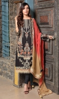 Embroidered Crinkle Chiffon Front 1 M Crinkle Chiffon Back 1 M Embroidered Patch For Front & Back 2 M Embroidered Crinkle Chiffon Sleeves 0.67 M Crinkle Chiffon Dupatta 2.5 M Dupatta Embroidered Patch 4 Side 7.5 M Dyed Silk Trouser 2.5 M