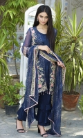 Embroidered Crinkle Chiffon Front 1 M Crinkle Chiffon Back 1 M Embroidered Crinkle Chiffon Sleeves 0.67 M Embroidered Patch A For Sleevs 2 M Embroidered Patch B For Sleevs 1 M Embroidered Crinkle Chiffon Dupatta 2.5 M Dyed Silk Trouser 2.5 M