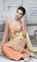 Embroidered Crinkle Chiffon Center Panel & Side Panel Front 1 M Crinkle Chiffon Back 1 M Embroidered Patch A For Front & Back 2 M Embroidered Patch B For Front 1 M Embroidered Crinkle Chiffon Sleeves 0.67 M Embroidered Crinkle Chiffon Dupatta 2.5 M Dyed Silk Trouser 2.5 M