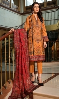 Embroidered Linen Front 1 M Embroidered Linen Back 1 M Embroidered Patch A For Daman Front & Back 2 M Embroidered Patch B For Daman Front & Back 2 M Embroidered Linen Sleeves 0.67 M Sleeves Embroidered Patch 1 M Embroidered Georgette Dupatta With Embroidered Palu Patch 2.5 M Dyed Linen Trouser 2.5 M