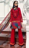 Three Piece, Kantha Intrciate Embroidered Digital Printed Lawn Shirt Coupled With Digital Printed Crinkle Chiffon Dupatta & Dyed Cambric Trouser