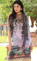 Three Piece, Tropical Floral Digital Printed Lawn Shirt With Embroidered Neckline & Embroidered Border Coupled With Digital Printed Crinkle Chiffon Dupatta & Digital Printed Cambric Trouser